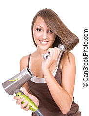 hair care - beautiful teenager with strong hair