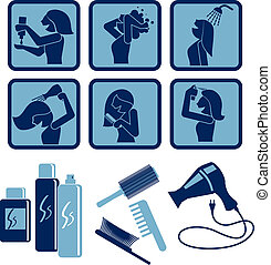 Hair care. set of vector icons