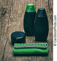 Hair care cosmetics with towel and comb