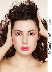 Hair care - Young beautiful woman with clean make-up ...