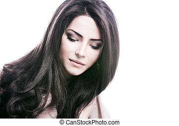 hair care - young woman with beautiful long healthy dark ...