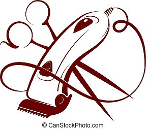 Hair clipper and scissors symbol for hairdresser