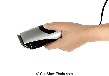 Hair clipper in hand on white background