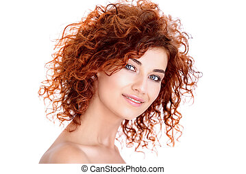 hair coloring and curling - Beauty, hair concept. Beautiful...