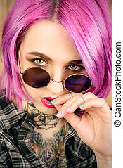 hair coloring - Close-up portrait of a modern girl with...
