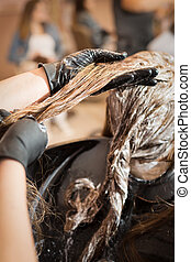 Hair coloring in the salon