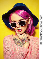 hair coloring - Pretty girl with crimson hair wearing bright...