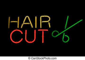 Hair Cut Neon Sign Light with Scissors
