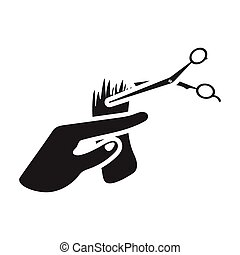 Hair cutting icon in black style isolated on white background. Hairdressery symbol stock vector illustration.
