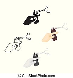 Hair cutting icon in cartoon style isolated on white background. Hairdressery symbol stock vector illustration.