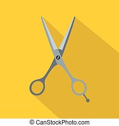 Hair cutting scissors icon, flat style