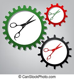 Hair cutting scissors sign. Vector. Three connected gears with i