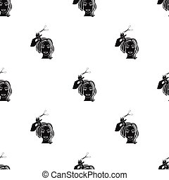 Hair cutting with scissors. Womens haircut single icon in black style vector symbol stock illustration web.