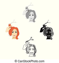 Hair cutting with scissors. Womens haircut single icon in cartoon, black style vector symbol stock illustration web.