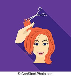 Hair cutting with scissors. Womens haircut single icon in flat style vector symbol stock illustration web.