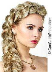 hair-dress, mulher, fishtail, jovem, retrato, loiro