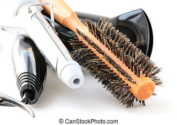 Hair dryer and brush