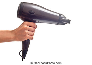 Hair dryer - hair dryer in woman\'s hand. Isolated on white...