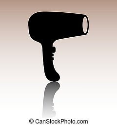 Hair Dryer. Hairdresser Symbol - Vector