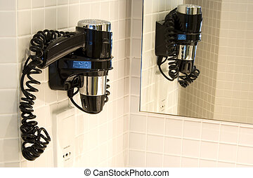 Hair Dryer in Bathroom