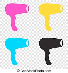 Hair Dryer sign. CMYK icons on transparent background. Cyan, mag