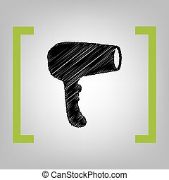 Hair Dryer sign. Vector. Black scribble icon in citron brackets on grayish background.