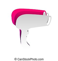 Hair Dryer sign. Vector. Detachable paper with shadow at underly