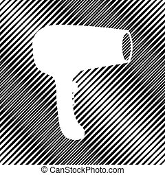 Hair Dryer sign. Vector. Icon. Hole in moire background.