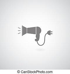 Hair dryer symbol on white background