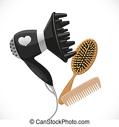 Hair dryer with diffuser and combs isolated on a white background