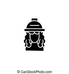 Hair dryer woman black icon concept. Hair dryer woman flat  vector symbol, sign, illustration.