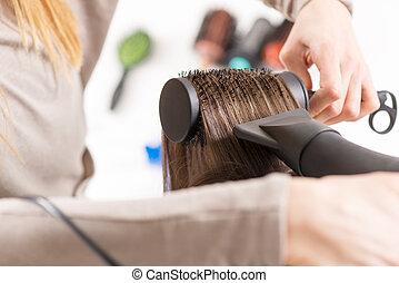 Hair drying.