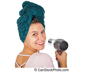 Hair drying female - isolated