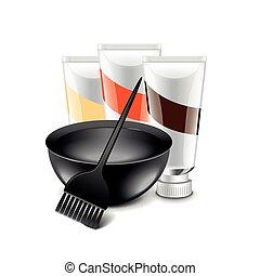 Hair dye tools isolated on white vector - Hair dye tools...