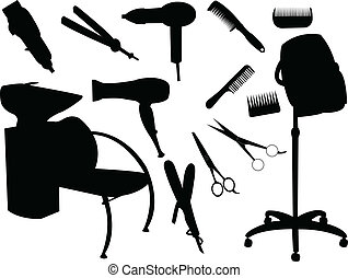 Hair equipment silhouette - vector