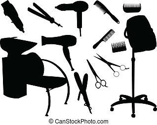 Hair equipment silhouette - vector