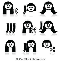 Hair extensions, haircut icons set