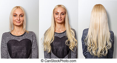 Hair extensions procedure. Hair before and after. Blond...