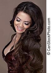 hair., fason, style., szczęśliwy uśmiechnięty, brunetka, girl., zdrowy, długi, hair., piękno, wzór, woman., fryzura