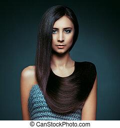 hair., hermoso, morena, girl., sano, largo, hair., belleza, modelo, mujer