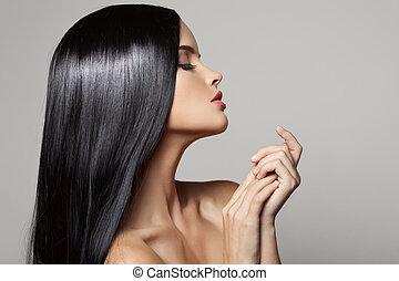 hair., hermoso, morena, girl., sano, largo, hair., belleza, modelo, w
