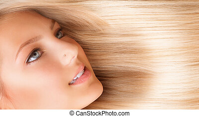 hair., hermoso, niña, con, rubio, largo, hair., rubio
