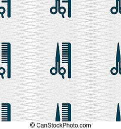 hair icon sign. Seamless pattern with geometric texture. Vector