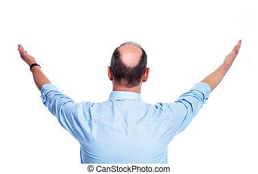 Hair loss. Bald man.
