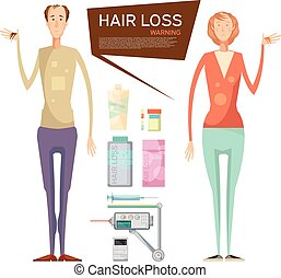 Hair Loss Drugs Concept - Hair loss conceptual composition...