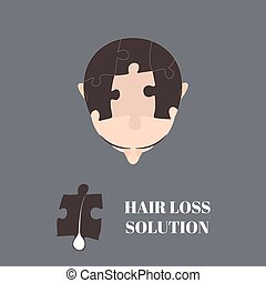 Hair loss solution - Top view portrait of a man with hair...