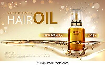 Hair oil cosmetics bottle mockup ad vector banner