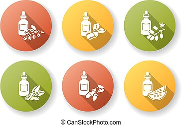 Hair oils flat design long shadow glyph icons set. Jojoba ...