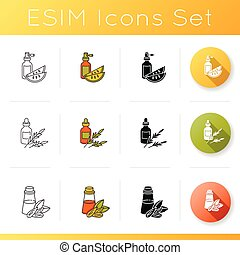 Hair oils icons set. Kalahari melon seed extract. Rosemary ...
