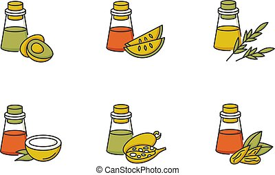 Hair oils RGB color icons set. Avocado ingredient for ...